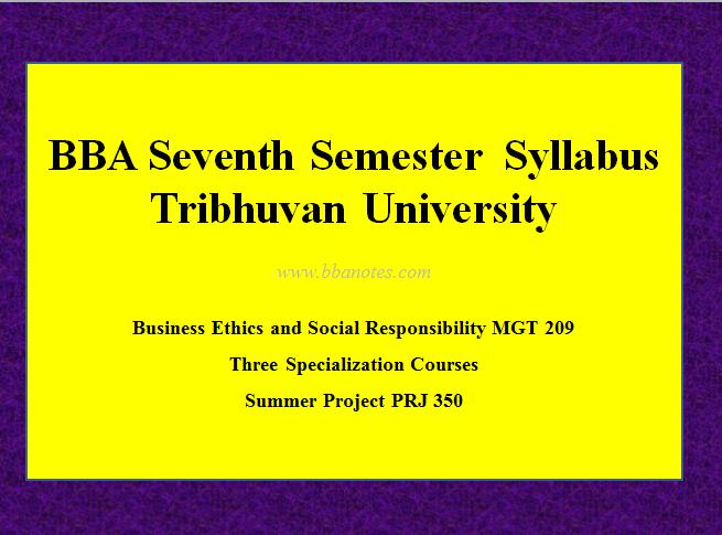 TU BBA Seventh Semester Syllabus